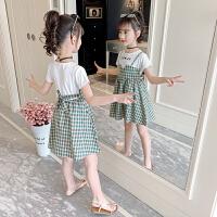女童连衣裙夏装儿童格子大童装女孩夏季裙子