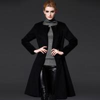 年冬季新款欧美毛呢外套女中长款收腰大摆过膝毛呢大衣