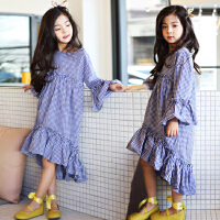 韩版童装女童连衣裙长袖春秋新款纯棉格子公主裙中大童荷叶边长裙