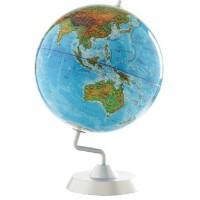博目地球仪 高清 32cm 中英文地形 银色圆座 金属支架 商务版
