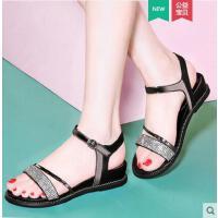 雅诗莱雅夏季新款一字扣坡跟厚底韩国百搭简约夏天女鞋子平底凉鞋女士YS-8950-S