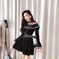 秋冬季裙子女韩版2018新款时尚复古气质长袖修身显瘦黑色连衣裙潮 黑色