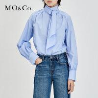 MOCO秋季新品高领绑带长袖纯棉衬衫MA183TOP114 摩安珂
