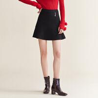 【12.16秒杀价148】红袖/HOPESHOW黑色荷叶边伞裙短裙