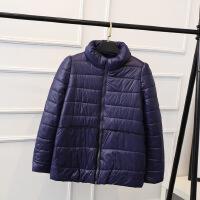 胖MM冬装新款韩版加肥加大码蕾丝边立领棉衣女式短款Z1977