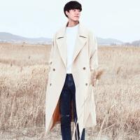 冬季毛呢大衣男中中长款韩国宽松呢子风衣青年潮流妮子外套双排扣 米白色 M
