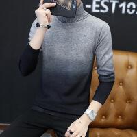冬春季高领毛衣男韩版修身渐变色青年线衫翻领打底针织衫学生线衣