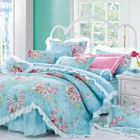 床罩床裙四件套纯棉欧式田园公主风蕾丝裙式全棉床单荷叶边1.8m床 蓝色 爱丁堡玫瑰蓝