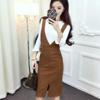 冬天套装女 两件套2017新款时尚韩版气质简约百搭上衣+潮流背带裙