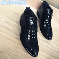 2018新款男鞋亮皮青少年短靴男士高帮黑皮鞋英伦发型师增高鞋子男