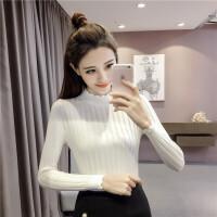 韩观毛衣女秋冬修身韩版学生新款半高领长袖套头显瘦袖针织打底衫上衣