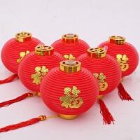 福字大红小灯笼连串结婚新年节日节庆开业户外盆景挂饰婚庆装饰品 带灯
