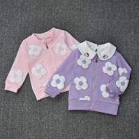 春秋婴幼儿女宝宝秋装外套花朵女童休闲夹克拉链衫纯棉一二三岁