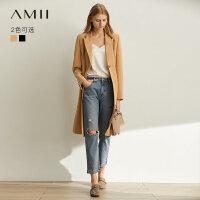 【预估价268元】Amii极简时尚气质通勤风衣女2019秋装新款修身过膝中长款西装外套