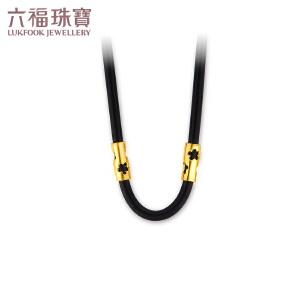 六福珠宝樱花皮绳choker黄金项链时尚镂空项圈  GDG30009