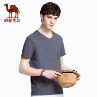 骆驼男装 2018夏季新款短袖t恤男纯色V领半袖打底衫男士青年上衣
