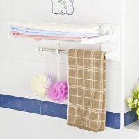 【当当自营】阿栗坞 折叠浴巾架 浴室置物架 毛巾架 架子 白色+银色 2030