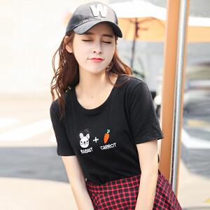 新品韩版修身百搭圆领短袖T恤棉夏装女装半袖上衣小衫