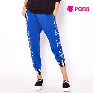 【不退不换】PASS秋装新款哈伦裤运动休闲口袋宽松时尚小脚裤女
