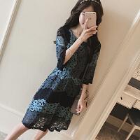 大码女装胖mm妈妈装夏季新款韩版渐变蓝花朵蕾丝连衣裙
