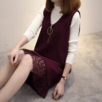 秋装新款女中长款针织衫两件套秋冬长袖打底宽松蕾丝毛衣裙潮