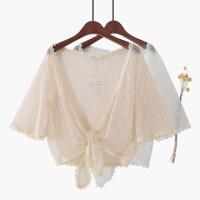 喇叭袖系带蕾丝外披肩微透沙滩防晒衫蕾丝衫开衫