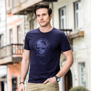 骆驼男装 2018夏季新款时尚青年休闲上衣棉质印花圆领短袖T恤