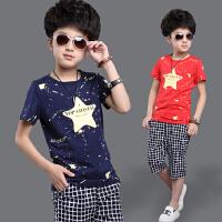 童装男童夏装男孩大童儿童短袖t恤2件套装4-6-8-10-12岁运动套装