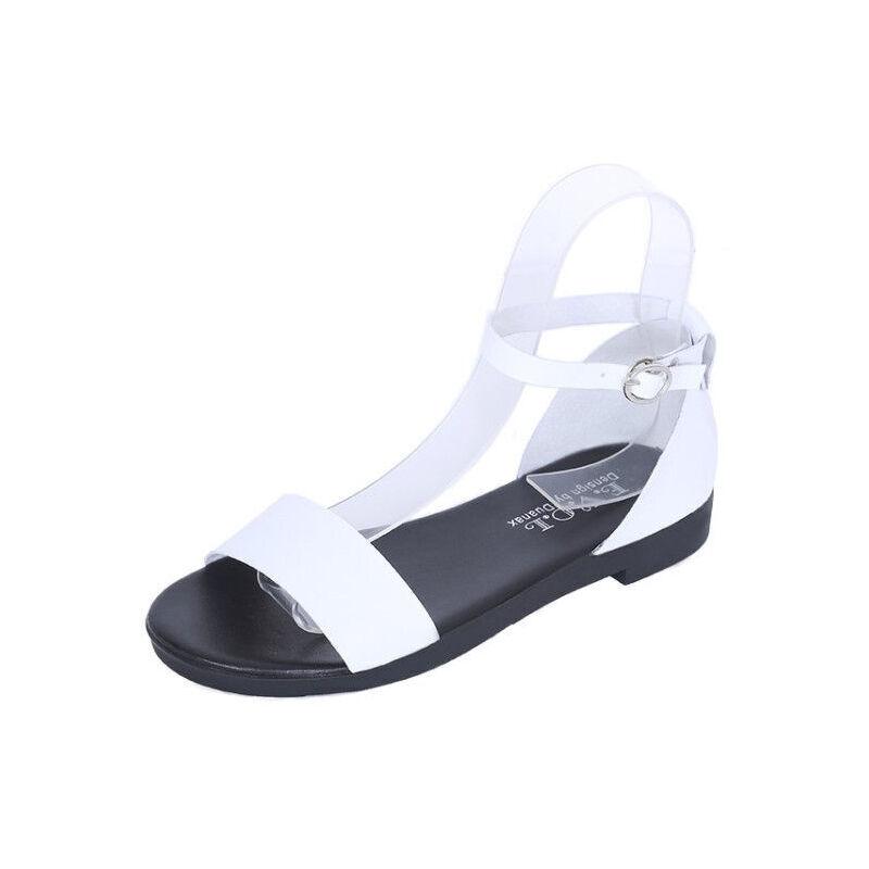 ELEISE美国艾蕾莎新品156-066韩版超纤皮平跟女士凉鞋