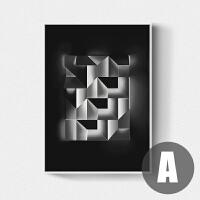抽象装饰画 现代客厅沙发办公室背景墙画北欧 个性三联画黑白挂画 A款 FL16571-5