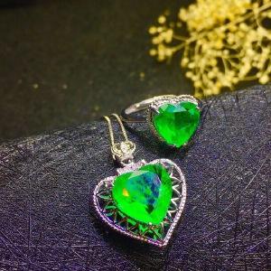天然哥伦比亚祖母绿心形二件套套装,豪华款!
