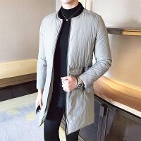 冬季外套男韩版修身潮中长款棉衣加厚棉袄青年立领男士