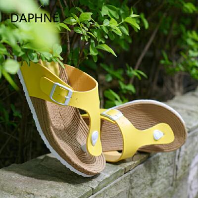 【双十一狂欢购 1件3折】Daphne/达芙妮夏新品 时尚编织坡跟厚底夹趾女凉鞋双十一狂欢购 1件3折