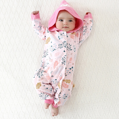 【3件3折后32.04】婴儿连体衣秋冬薄棉款新生儿衣服连帽款0-18个月宝宝衣服纯棉哈衣... 连帽婴儿保暖连体衣