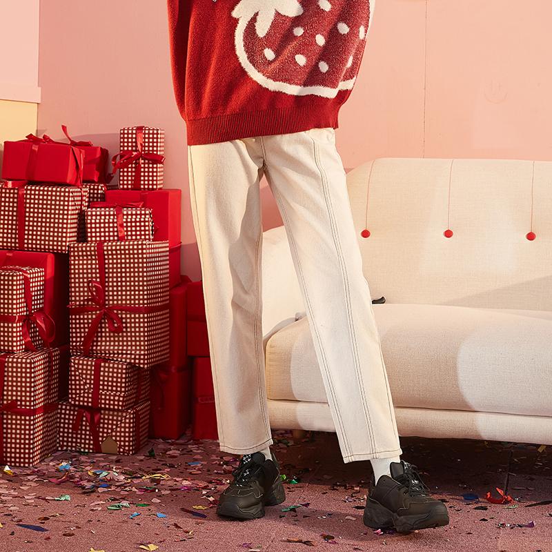 [直降]唐狮冬装新款女牛仔裤宽松直筒裤长裤学生韩版ins潮流小刺绣 全场1件1折起叠加300-50,仅限3.3-3.5