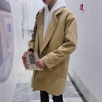 男士中长款风衣情侣冬季韩版潮流帅气呢子大衣宽松加厚毛呢外套男