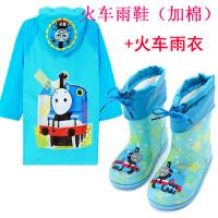 新款儿童雨鞋加棉男女童雨靴加绒水鞋雨衣套装幼儿园小孩3岁5岁