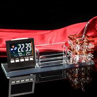 水晶笔筒办公摆件商务礼品定制电子万年历水晶名片盒桌面笔筒收纳 巧克力色 茶色