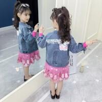 女童牛仔外套春装2019新款韩版时尚儿童春秋时髦印花短款夹克上衣