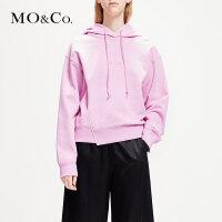 MOCO短款字母连帽卫衣春装2019款女装新款潮宽松MAI1SWS010摩安珂