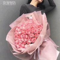 99朵玫瑰花束真花红粉黑纱长春鲜花速递同城配送抖音同款送女友 不含花瓶
