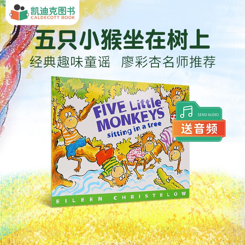美国进口 五只小猴子 Five Little Monkeys Sitting In A Tree 五只小猴坐在树上 【平装】 廖彩杏书单 第十三周