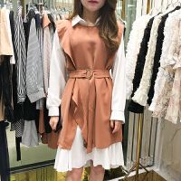 韩国ulzzang2018春新款Polo领衬衫中裙+荷叶边背心裙两件套连衣裙