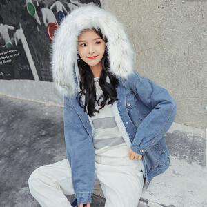 加厚加绒牛仔外套女2018冬季新品新款白色大毛领学生宽松bf外套