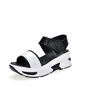 Mr.zuo2017夏季新款优雅中跟厚底松糕凉鞋韩版休闲坡跟百搭摇摇凉鞋