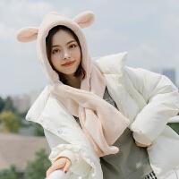 秋冬季学生保暖韩版少女可爱卡通兔耳朵毛绒帽围脖帽子一体两用