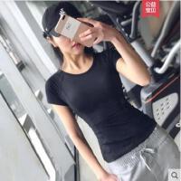运动上衣女短袖t恤透气速干弹力紧身跑步健身训练瑜伽服