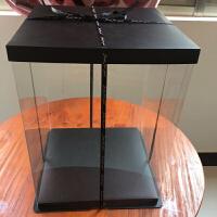 加高超大透明包装盒情人节玫瑰熊鲜花礼盒翻盖蛋糕盒加工定制