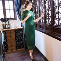 厂家直销秋冬新款旗袍长款纯色中袖旗袍改良蕾丝连衣裙旗袍 墨绿12012