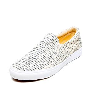 SHOEBOX/鞋柜春秋新款帆布鞋平底单鞋字母休闲男单鞋